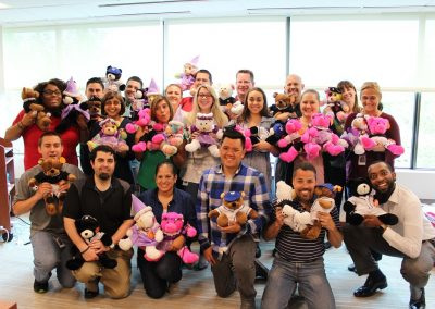 The whole team with their stuffed animals