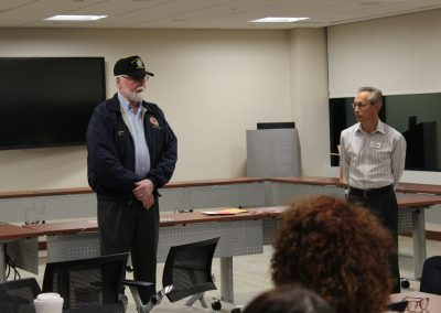 Doug Norwood of Disabled American Veterans speaks to the group